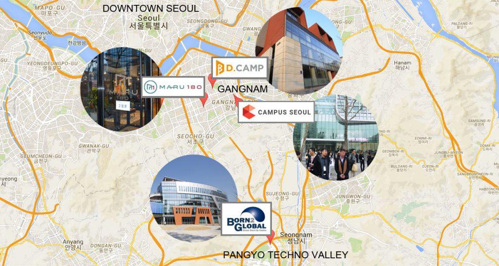 Mappa degli acceleratori e incubatori di Seoul