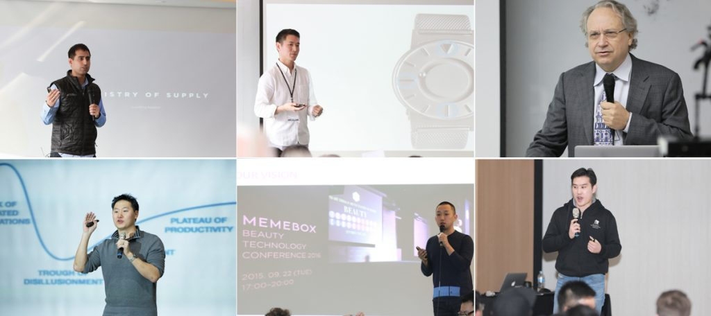 "I nostri Guest Speakers (in senso orario): Aman Advani (Ministry of Supply), Hyungsoo Kim (Eone Timepieces), Rodney Brooks (Rethink Robotics), Young J. Cha (OnDemandKorea), Hyungseok ""Dino"" Ha (Memebox), Douglas Hwang (ComiXology)"