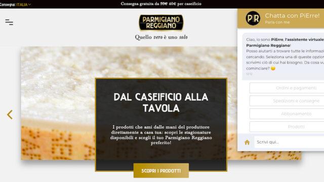 Schermata dell Shop online del Consorzio Parmigiano Reggiano